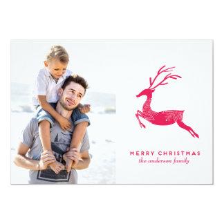 お祝いのトナカイのクリスマスの写真カード 12.7 X 17.8 インビテーションカード