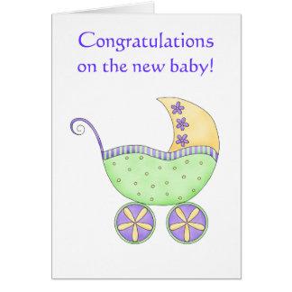お祝いのベビーカーキャリッジ緑の黄色 カード
