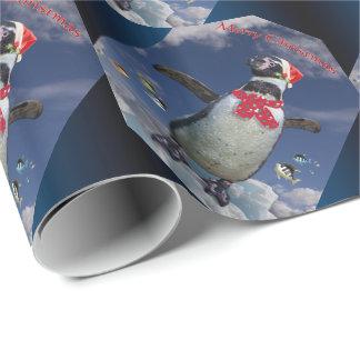 お祝いのペンギンの包装紙-クリスマス ラッピングペーパー
