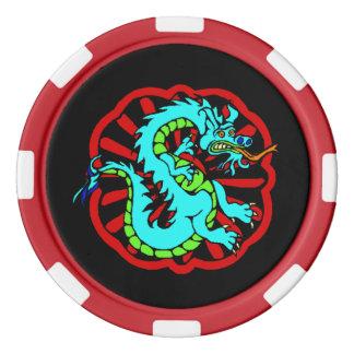 お祝いのポーカー用のチップの幸運で青いドラゴンの風水 ポーカーチップ
