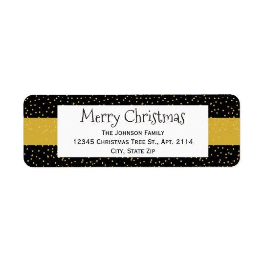 お祝いのモダンで黒い金ゴールドの点のクリスマスの休日 ラベル