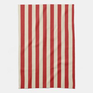 お祝いのレトロのヴィンテージの縦のポップコーンは縞で飾ります キッチンタオル