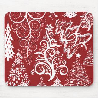 お祝いの休日の赤いクリスマスツリーのクリスマスパターン マウスパッド