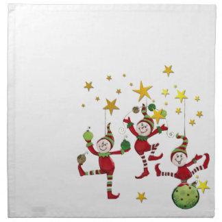 お祝いの小妖精や小人のクリスマス・パーティかイベントのナプキン ナプキンクロス