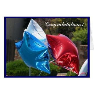お祝いの愛国心が強い気球の挨拶状 グリーティングカード