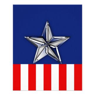 お祝いの愛国心が強い色のクロム銀製の星 チラシ