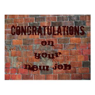 お祝いの新しい仕事のレンガ壁 ポストカード
