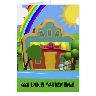 お祝いの新しい家の漫画の家カード グリーティングカード