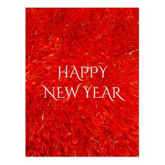お祝いの明るい赤い色の明けましておめでとうの文字 ポストカード
