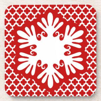 お祝いの明るく赤い雪片のコースターセット コースター
