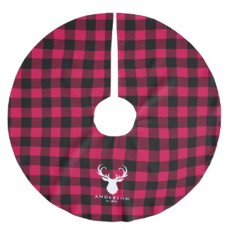 お祝いの格子縞パターン ブラッシュドポリエステルツリースカート