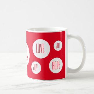 お祝いの水玉模様 の赤く幸せな休日 ベーシックホワイトマグカップ