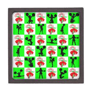 お祝いの緑のチアリーダーのクリスマスのデザイン ギフトボックス