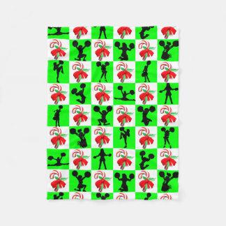 お祝いの緑のチアリーダーのクリスマスのデザイン フリースブランケット