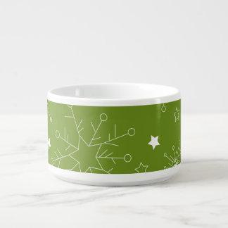 お祝いの緑の休日の雪片 チリボウル