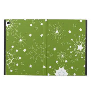 お祝いの緑の休日の雪片 POWIS iPad AIR 2 ケース