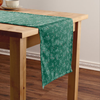 お祝いの緑のDitsyのヤドリギパターンテーブルのランナー ショートテーブルランナー
