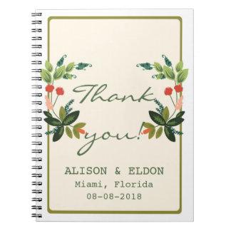 お祝いの花模様-クリーム + オリーブ色/青リンゴ色 ノートブック