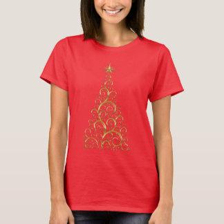 お祝いの華麗さの金ゴールドのクリスマスツリー Tシャツ