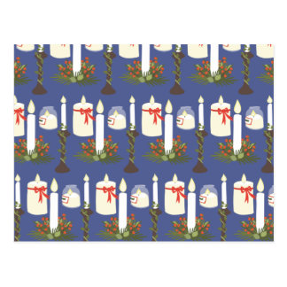 お祝いの蝋燭のプリントの青 ポストカード
