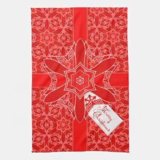 お祝いの赤いクリスマスのレース キッチンタオル