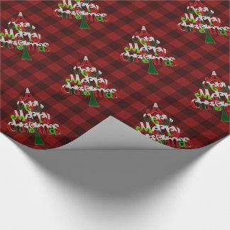 お祝いの赤いバッファローの格子縞のメリークリスマスの木 ラッピングペーパー