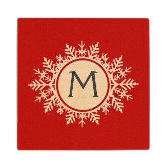 お祝いの赤の華美で白い雪片のモノグラム ウッドコースター