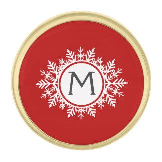 お祝いの赤の華美で白い雪片のモノグラム ゴールド ラペルピン