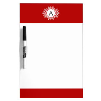 お祝いの赤の華美で白い雪片のモノグラム ホワイトボード