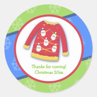 お祝いの醜いセーターのカスタムな好意のステッカー ラウンドシール