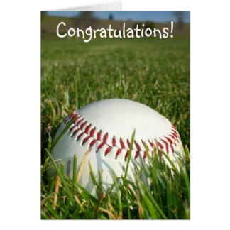 お祝いの野球の挨拶状 カード