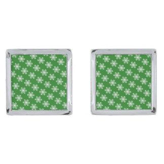 お祝いの雪片の緑及び白 シルバー カフスボタン