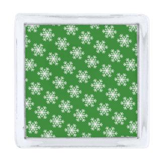 お祝いの雪片の緑及び白 シルバー ラペルピン