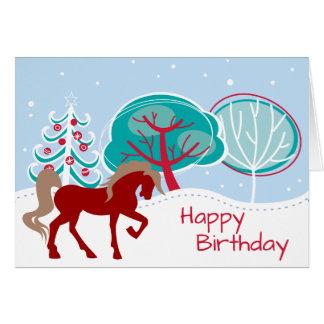 お祝いの馬のSnowyの冬のハッピーバースデー カード