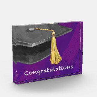 お祝いの黒および紫色 表彰盾