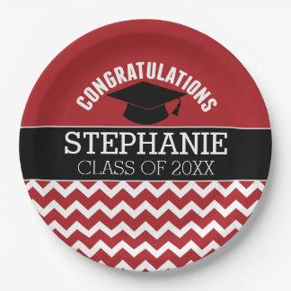 お祝いは-赤く黒い卒業を卒業させます ペーパープレート