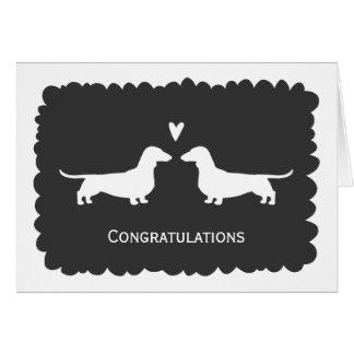 お祝いを結婚しているダックスフント カード
