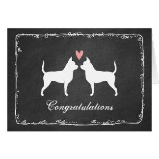 お祝いを結婚しているチワワ カード