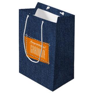 お祝い卒業生、デニムパターンギフトバッグ ミディアムペーパーバッグ