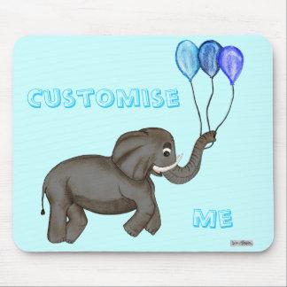 お祝い象(青い) マウスパッド