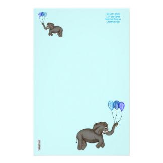 お祝い象(青い) 便箋