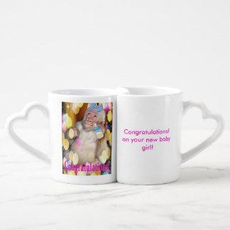 お祝い! あなたの新生児の女の子! マグセット ペアカップ