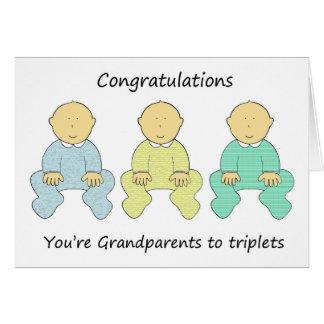 お祝い、あなたは三重項への祖父母 グリーティングカード