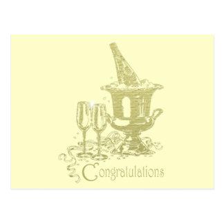 お祝い、シャンペンおよびガラスの芸術 ポストカード