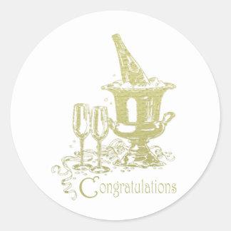 お祝い、シャンペンおよびガラスの芸術 ラウンドシール