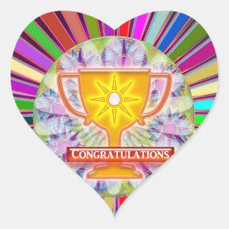 お祝い: トロフィおよび輝きの車輪の装飾 ハートシール