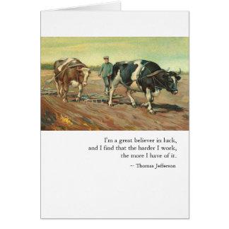 お祝い: トーマス・ジェファーソン著仕事及び運 カード