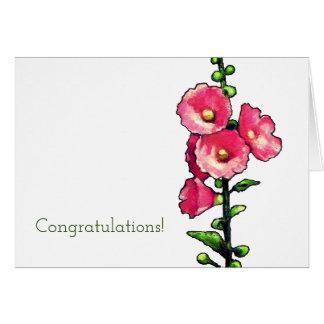 お祝い、ピンクのHollyhockの花、芸術 カード