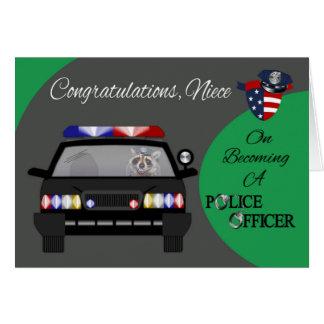 お祝い、姪、警察の挨拶状 カード