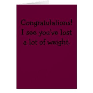 お祝い! 私は多くの重量を失った見ます カード